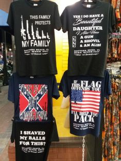 Guns and flags: These t-shirts have expressed some clear statements
